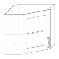 47. H60R-S - skrinka horná 1-dverová rohová 600 presklená