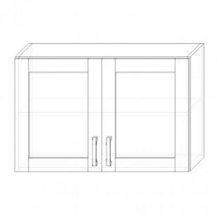 55. H90S – skrinka horná 2-dverová 900 presklená